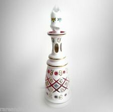Bohemia decanter with white cut to cranberry glass - enamelled - FREE SHIP