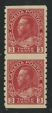 Canada 1924 KGV Admiral 3c part perforate coil pair #130a VF mhr
