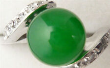 18KGP White Gold Plated Green Jade Women Ring AAA Size 7.5#-8#