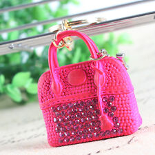 New Rose Red Lady Handbag Charm Pendant Crystal Purse Bag Key Ring Creative Gift
