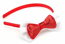 Zest Christmas Satin Alice Band with Sequinned Bow Hair Accessory Red