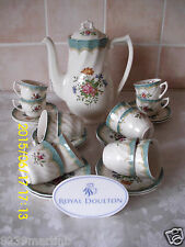 Royal Doulton Kingswood D6301 Coffee Pot  & 12 Demi Tasse Coffee Cups & Saucers
