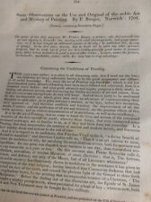 M71 Article Old Document Undated Mystery Of Printing F Burges Norwich 1701