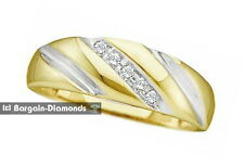 mens diamond .10-carats 14K yellow gold ring wedding band anniversary