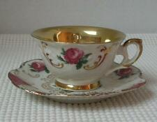 Vintage WINTERLING BAVARIA China Demitasse Cup & Saucer Germany Red Roses Trim