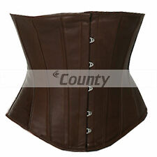 Underbust Corset Brown Real Leather Full Steel Boned Spiral Basque Lacing Shaper