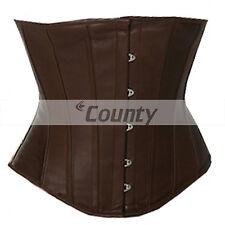 Underbust corsetto Marrone Vera Pelle Completo In acciaio steccato SPIRALE basco allacciatura Shaper