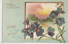 Happy Christmas & Bright New Year, Flowers / Rural Postcard, B520