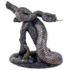 9 Inch Rattlesnake Venemous Predator On Branch Snake Statue Sculpture Figure