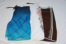 Lot of 3 Men's Swimwear Pool Swimming Shorts Blue White Brown Color Size 38 Larg
