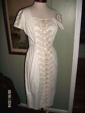 VINTAGE 1950'S 50'S WIGGLE EMBROIDERED DRESS SECRETARY MARILYN MONROE SEXY S