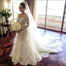 Classic Lace A Line Wedding Dress 2017 Long Sleeve with Flowers Wedding Gown