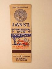 """advertising matchbook cover: U.S. Navy - driver safety """"Be Safe Be Shipshape"""""""