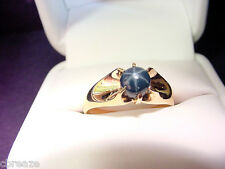 GENUINE BLUE STAR SAPPHIRE  VINTAGE CIRCA 1900-10  10K GOLD RING  SIZE 10