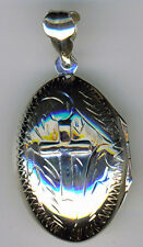 925 Sterling Silver Oval Engraved Locket with Raised Cross    30mm X 22mm