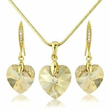 CHAMPAGNE SWAROVSKI ELEMENT CRYSTAL 18KP GOLD EARRING HEART PENDANT JEWELRY GIFT