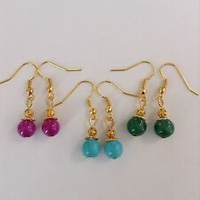 3Pairs Natural Turquoise Jade Aventurine Gold P Surgical Steel hook Earrings new