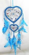 Dream Catcher replica Beaded Heart Shaped turquoise w/ Feathers