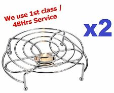 2x Round Food Warmer Rack Stand Chrome Use with One Tea Light Candles Chafing