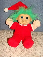 Santa Pajamas Large Troll Doll Green Hair Blue Eyes Plastic Face Plush Body