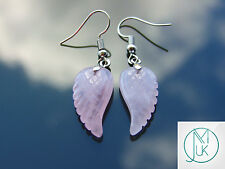 Rose Quartz Angel Wing Gemstone Earrings Natural Quartz Chakra Healing Stone