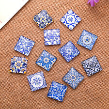 200 Mixed Blue Flowers Geometric Pattern Square Glass Cabochons Dome Seals 12mm