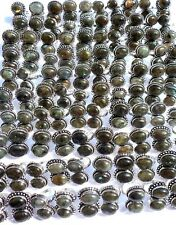 WHOLESALE 100pc LOT LABRADORAITE DUAL  GEMS RING IN 925 STERLING SILVER OVERLAY