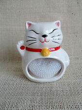Maneki-Neko Beckoning Lucky White Cat Ceramic Sponge Holder Japanese NEW!
