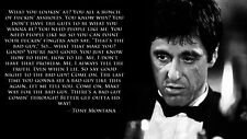 "SCARFACE MOVIE QUOTE - Tony Montana Wall Art Large Canvas Picture 20""x30"""