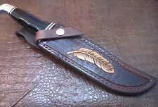 Custom 10 oz Leather Knife Sheath for a  BUCK 120 Knife. Tooled feather.
