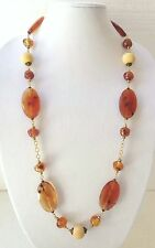 Joan Rivers Necklace Large Faux Amber Gemstone Discs & Beads Brass Tone Spacers