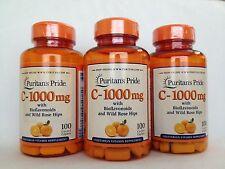 3 Puritan's Pride Vitamin C-1000 mg with Bioflavonoids & Rose Hips 300 Caplets