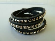 Mens/Womens black leather bracelet/wrist band, Adjusts 54-58 cm, Postage Free