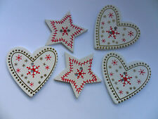 20 pcs  Christmas Snowflake Star / Heart  Scrapbooking / Sewing Buttons  35mm