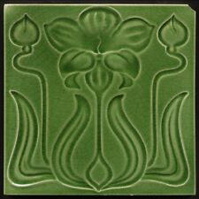 TH2810 Antique Art Nouveau Majolica Flower & Buds Tile Rd. 1905