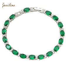 AB307 New 2017 Green Topaz Silver Emerald Bracelets & bangles for women