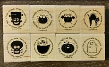Stampin' Up BATTY FOR YOU Set 8 Wood Mounted Rubber Stamps Lot Halloween Ghost
