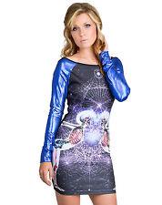NEW Too Fast Black/Blue Unity Hazard Tight Sleeve Dress Gothic Cyber S