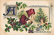 1908 Old World Santa Claus with Hood, Switch, Tree, Girl Christmas Postcard