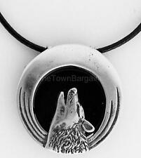 "Howling Wolf Pendant With Black Onyx 1.1"" Round .925 Sterling Silver Black Cord"