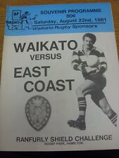 22/08/1981 Rugby Union Programme: Waikato v East Coast. Thanks for viewing our i