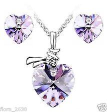 Parure plaqué or, cristal coeur violet, collier, pendentif, boucles d'oreilles.