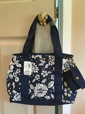 NWT Bass Purse/Tote Navy Blue/White Floral Design **Great Gift**