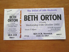 BETH ORTON - NORWICH UEA LCR UK 16.10.2002 UN USED CONCERT TICKET