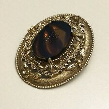 FLORENZA Gold-tone Brooch/Pin Victorian Revival Cameo Turquoise Shell