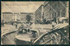 Roma Città Piazza di Spagna Fontana Auto cartolina QT1891