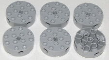 Lego Lot of 6 New Light Bluish Gray Bricks Round 4 x 4 with 4 Side Pin Holes