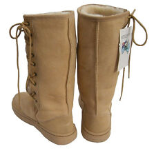 Tall Beige Ugg Boots Australian Moulded Sole Laceup Wool Sheepskin Boot New