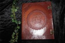 "EXTRA LARGE PENTACLE LEATHER JOURNAL/BOS WITH LOCK 10"" x 13"" ~ HAND MADE PAPER"