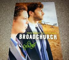 "BROADCHURCH CASTX2 PP SIGNED 12""X8"" A4 PHOTO POSTER DAVID TENNANT OLIVIA COLMAN"